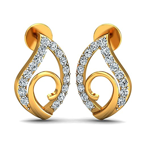 JewelsForum Yellow Gold in 14Kt and Diamond Studded Earrings 0.32 Carat TCW by JewelsForum