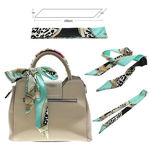 Fashion Lady Girl Twilly Silk Ribbon Buckle Scarf Decoration for Bag Handle - Pattern E - Buckle Silk