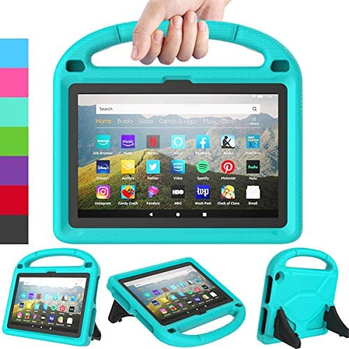 LEDNICEKER Kids Case for All-New Fire HD 8 & Plus 2020 - Lightweight Shockproof Handle with Stand Kid-Proof Case for Amazon Fire HD 8 inch Tablets (Latest tenth Generation 2020 Release) -Turquoise