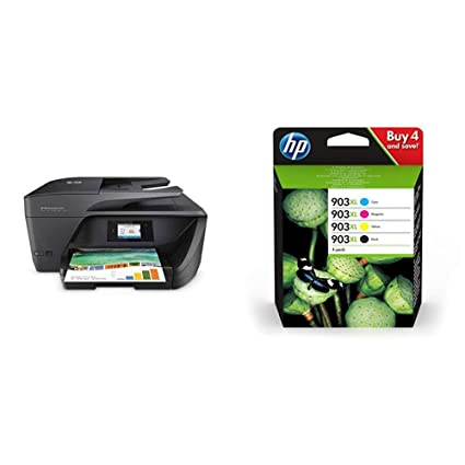 HP OfficeJet Pro 6960 - Impresora multifunción Color Negro + 3 hz51ae – Lote de 4 Cartuchos de Tinta Originales Compatible con HP Officejet CMYK
