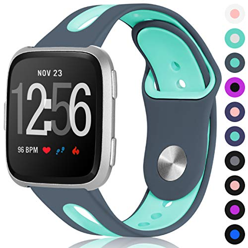 Maledan Bands for Fitbit Versa Women Men, Replacement Accessory Breathable Sport Strap with Ventilation Holes for Fitbit Versa Smartwatch, Small, Grey Teal