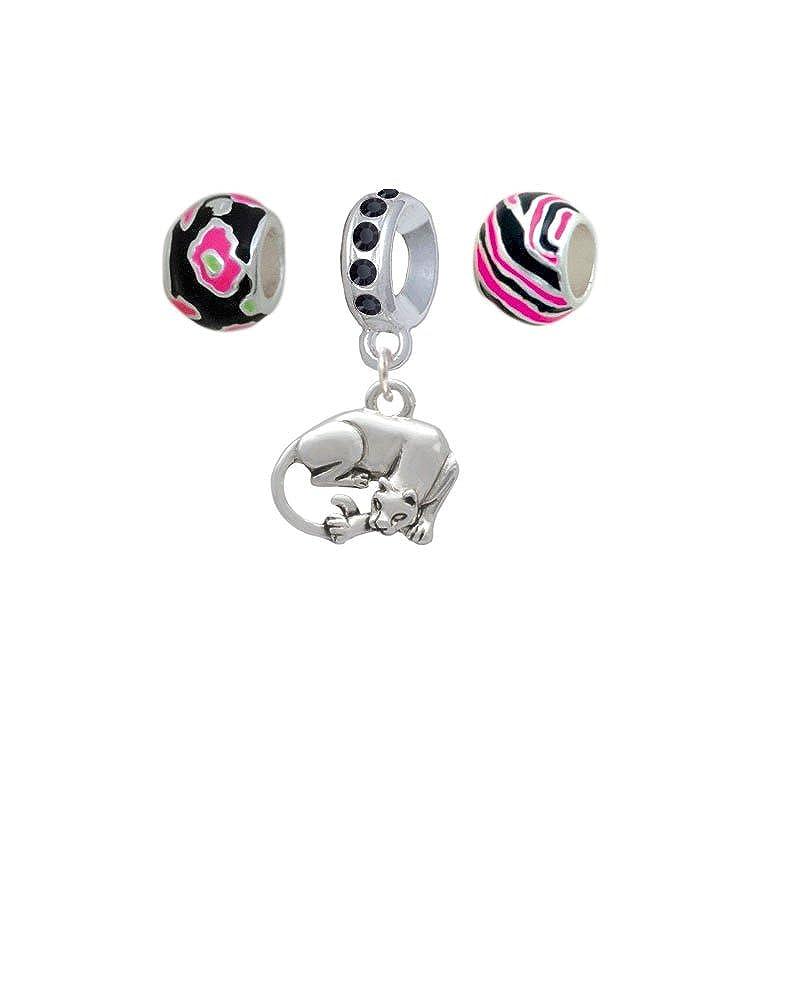 Silvertone Panther Hot Pink Animal Print Charm Beads Set of 3