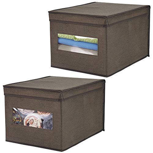 Storage Lid Attached (mDesign Soft Fabric Stackable Closet Storage Organizer Box with Clear Window and Attached Hinged Lid for Bedroom, Hallway, Entryway, Closets - Textured Print, Large, 2 Pack - Espresso/Brown)