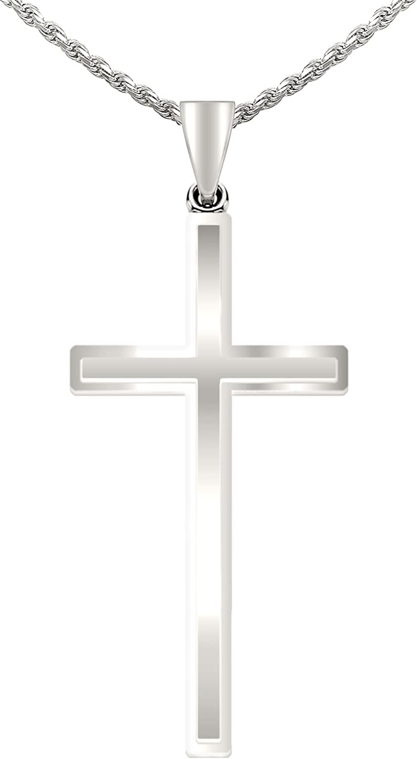 18in to 24in US Jewels And Gems New Large 2 3//8in 0.925 Sterling Silver Crucifix Cross Pendant Necklace