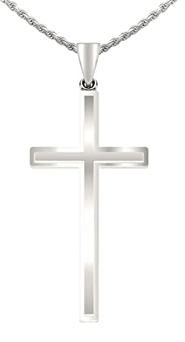 New 14k White Gold Christian Cross Pendant Necklace, Polished Finish