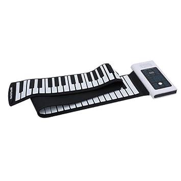 Piano de teclado suave Plegable 88 teclas Eléctrica Digital Roll Up Soft Silicon Keyboard Piano con salida MIDI USB Grabación Programación Reproducción ...