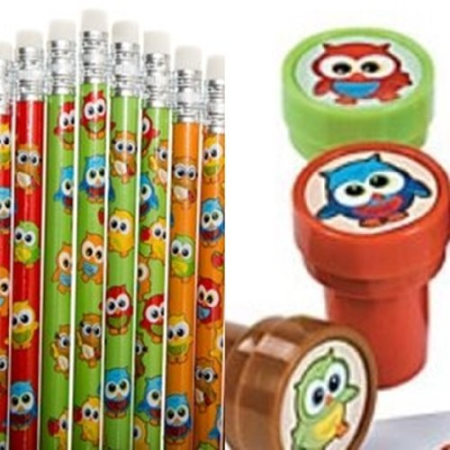 24 Pc Owl Party Favors - Owl Pencils and Owl Stampers Lot -