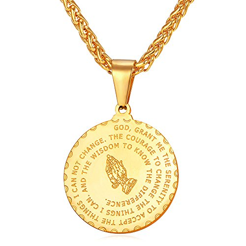 U7 Gold Plated Bible Verse Prayer Necklace with 22