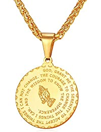 Bible Verse Prayer Necklace with Free Chain Christian Jewelry Stainless Steel Praying Hands Coin Medal Pendant
