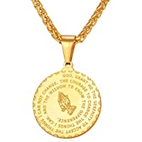 U7 Bible Verse Prayer Necklace with Free Chain Christian Jewelry Stainless Steel Praying Hands Coin Medal Pendant