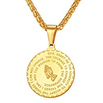 U7 Praying Hands Round Coin Medal/Heart Pendant with Bible Verse Necklace Resizable Wheat Chain