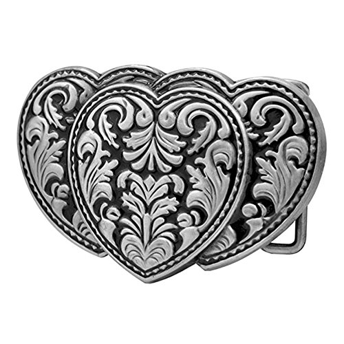 Buckle Rage Adult Womens Ornate Triple Western Heart Belt Buckle Silver Black