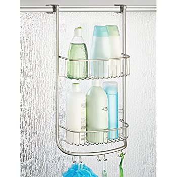 mdesign overthedoor shower caddy for bathroom for and hooks for razors loofau0027s and more satin