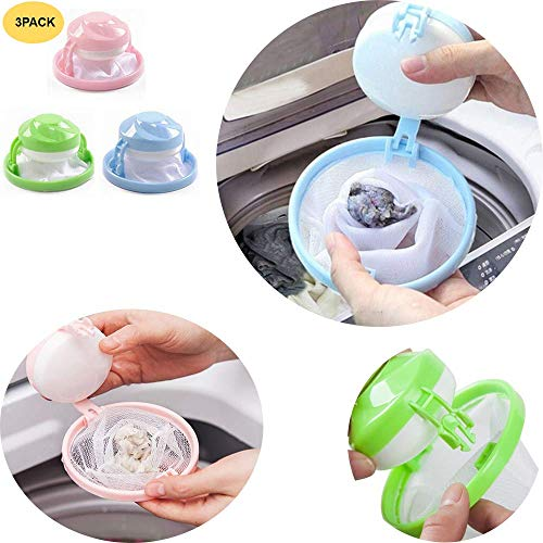 GXOK Filtering Hair Removal Device,3PCS Filter Bag Mesh Wool Floating Washer Cleaning Need Tool,Washing Machine Laundry Filter Bag Suitable for Bathroom (Best Way To Clean Polyester)