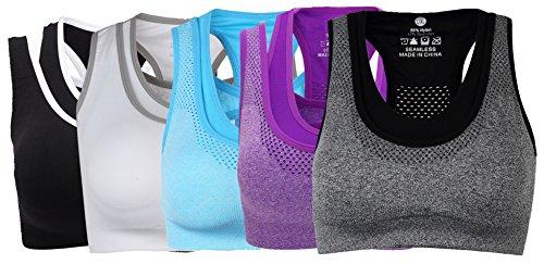 Ouno Women's Racerback Gym Sports Bra Workout Yoga Bras Pack of 5 XL