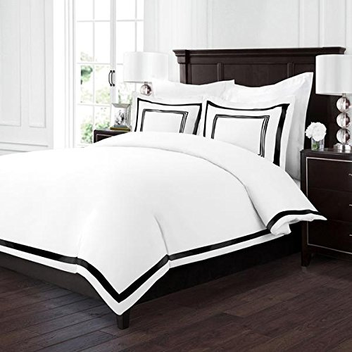 Sleep Restoration Luxury Soft Brushed Embroidered Microfiber Duvet Cover Set with Beautiful Trim & Embroidery Details - Hypoallergenic - Full/Queen - White/Black (Comforter Black Duvet And White)