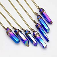 Large raw indigo blue crystal aura quartz point antique bronze chain pendant necklace 24 in