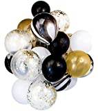 Shindig + Bash 12 Inch Party Balloons - Confetti - Gold - Black - White - Marble - 20 Pieces