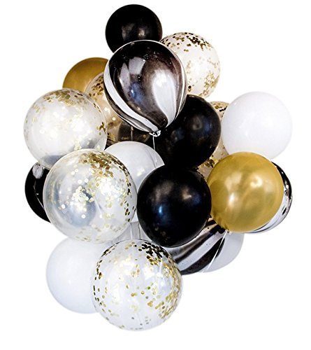 Shindig + Bash 12 Inch Party Balloons - Confetti - Gold - Black - White - Marble - 20 Pieces ()