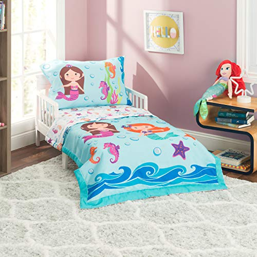 EVERYDAY KIDS 4 Piece Toddler Bedding Set -Undersea Mermaids Adventure- Includes Comforter, Flat Sheet, Fitted Sheet and Reversible -