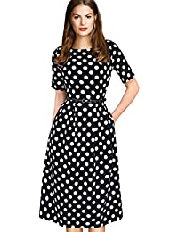 Womens Vintage Summer Polka Dot Wear To Work Casual A-Line Dress