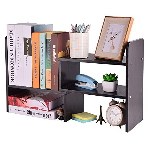 Wood Desktop Organizer Purpose Multi (Adjustable Wood Desk Storage Organizer Desktop Arc Rounded Corner Display Shelf Rack Bookshelf Multipurpose Counter Top Bookcase for Office Accessories Kitchen Children Study Supplies)