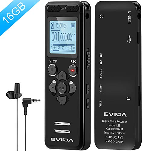 Digital Voice Recorder for Lectures - EVIDA 16GB Voice Activated Audio Recorder Long Battery Dictaphone Recording Device with Playback