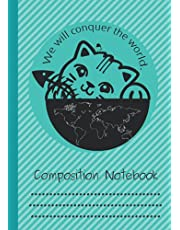 Composition Notebook: Cute Cat Composition Notebook Wide Ruled size A4