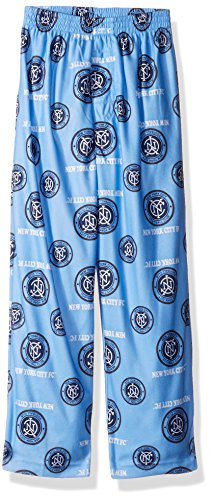fan products of OuterStuff MLS Nycfc BoysAll Over Team Logo Sleepwear Printed Pants, Bahia Blue, Medium (10-12)