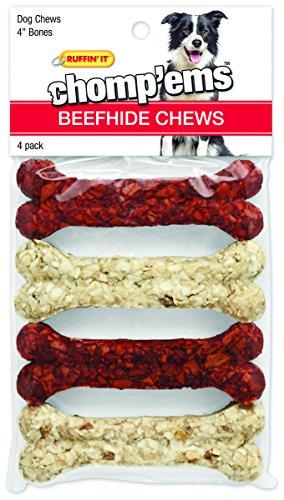 Ruffin' It Chomp'Ems 3180 Rawhide Dog Chew Bone, 4 CT, 4 ...