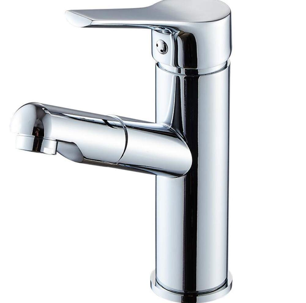 Faucetcopper Pull Faucet Hot and Cold Bathroom Wash Basin Telescopic Faucet Basin Wash Basin Faucet Washable