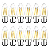 B22 LED Filament Candle Bulb,12 Pack, LVWIT 4W C35 Bayonet Warm White 2700K 470Lm, Non-Dimmable, 40W Replacement Retro De
