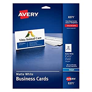 "Avery Business Cards for Inkjet Printers, Matte, White, Pack of 25 (10 cards/sheet) 2"" x 3 1/2"""