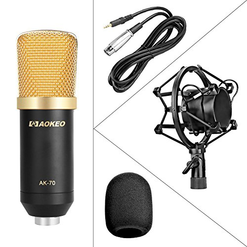 Aokeo Professional Studio Broadcasting / Recording AK-70 Condenser Microphone & AK-107 Folding Type Height Adjustable Microphone Tripod Boom Floor Stand Kit - Image 3