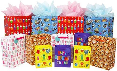 Amazon.com: Bolsa de regalo a granel con asa y etiqueta ...