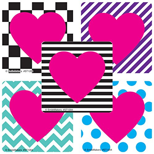 SmileMakers Valentine's Patterned Hearts Sticker - Prizes 100 per ()