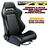 Performance World 275000 StreetSeat2 Racing Black PVC Vinyl Seats. Pair