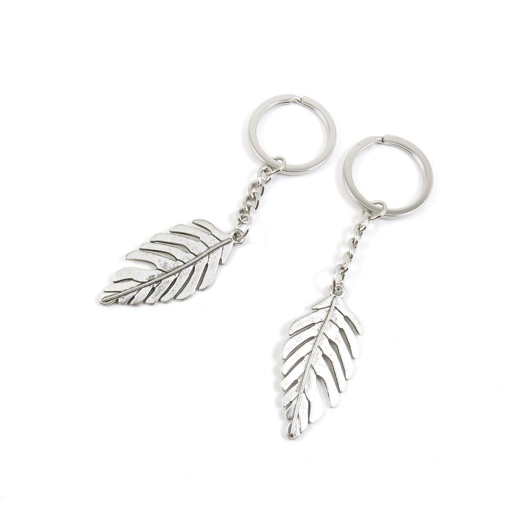 100 Pieces Keychain Door Car Key Chain Tags Keyring Ring Chain Keychain Supplies Antique Silver Tone Wholesale Bulk Lots I3CF3 Leaf Leaves