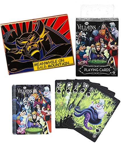 Fantasia Demon Villain Pin + Disney Game Cards Playing Card Deck Featuring Ursula / Cruella & Maleficent Characters Vile 2 Items ()