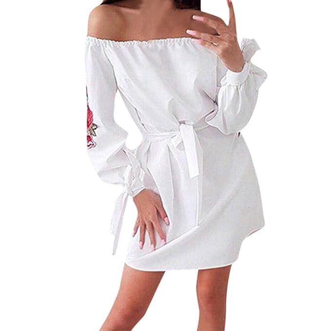 Lenfesh Mujeres Vestido de Fiesta de Hombros Descubiertos Mini Vestido de Mujer Vestido Corto Bordado de