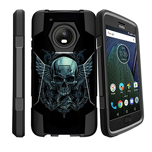 Rugged [Heavy Duty] Dual Layered [Shockproof] Case w/Kickstand Cover for Motorola Moto G Plus 5th Gen, Moto G5 Plus, Moto X (2017) - Chained Skull by GoldenBeetle