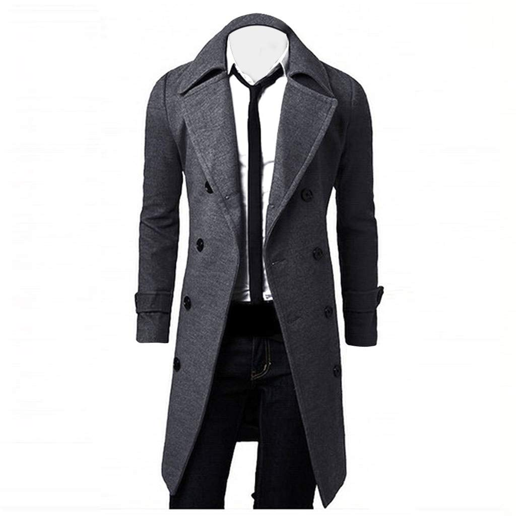 haoricu Men Trench Coat Jacket Slim Fit Double Breasted Long Jacket Coat Business Occasion Coat Grey by haoricu