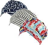 Ababalaya Women's Elegant Soft Print Muslim Islamic Turban Cap Headscarf Hijab Head Wrap,4+5+6