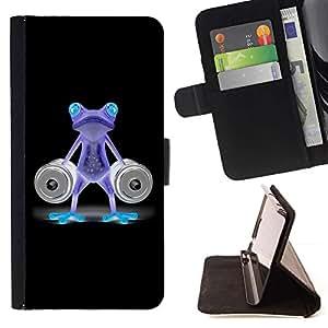 For Samsung Galaxy Note 5 5th N9200 Case , Divertido Gimnasio Bodybuilder de neón de la rana- la tarjeta de Crédito Slots PU Funda de cuero Monedero caso cubierta de piel