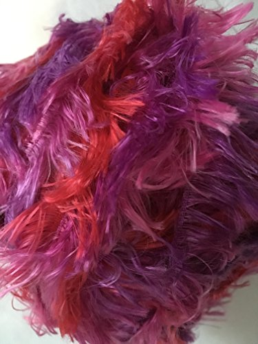 (Crystal Palace Splash #7234 - Carnival - Red, Pink, Purple - Feather Boa Short Eyelash Yarn 100 gram 85 Yards)