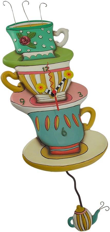 Allen Designs Spot of Tea Whimsical Pendulum Wall Clock