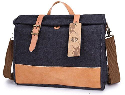 Izacu Flocc-BUG Lona bolso mensajero bolsa para hombre bolso de escuela (40*29*10cm, green) black