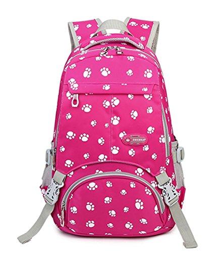 Lovely Dog Print - Fanci Lovely Dog Paw Prints Fanci Lovely Dog Paw Prints Nylon Primary School Rucksack Backpack for Girls Elementary Bookbag