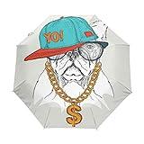 GIOVANIOR Hipster Dog Bulldog Portrait In Hip-Hop Hat Umbrella Double Sided Canopy Auto Open Close Foldable Travel Rain Umbrellas