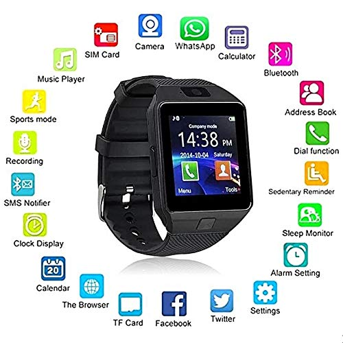 (OfferFamily 007 Fitness Smartwatch - Touch Screen + Bluetooth Enabled + Camera + Pedometer - iOS & Android (Black))